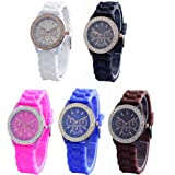 WLM Round Fashion 5 Color Clock 3 Dials Luxury Sports Unisex Quartz Wrist Watch Watches