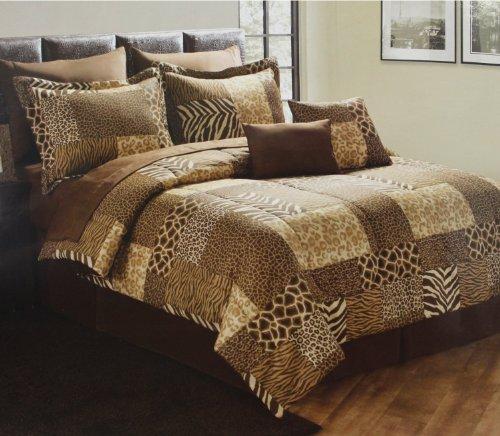Queen Size Comforter Set 10 Pc Zebra Giraffe Leapord