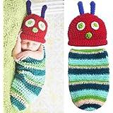 Foxnovo Cute Caterpillar Style Baby Infant Newborn Handmade Crochet Beanie Hat Clothes Baby Photograph Props