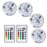 Lot of 4 RGB Submersible LED Lights - Battery Powered LED Accent Lights w/ 2 IR Remotes for Wedding, Centerpiece, Halloween, Party Lights