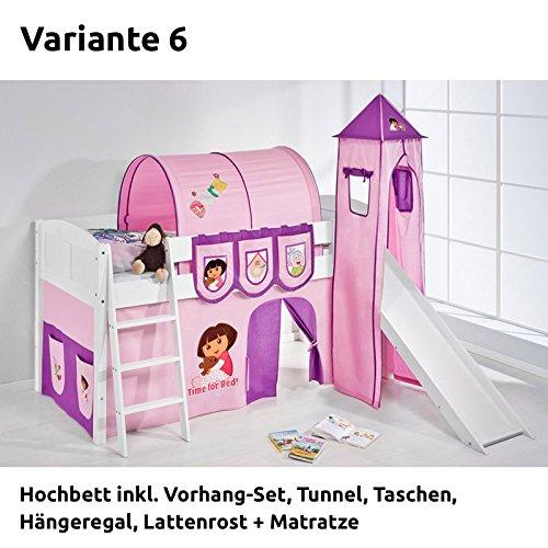 Hochbett Spielbett IDA Dora the Explorer, mit Turm, Rutsche und Vorhang, weiß, Variante 6