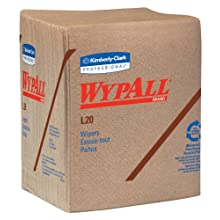 "Kimberly-Clark Wypall L20 Multi-Ply Paper Wiper, 13"" Length x 12-1/2"" Width, Tan (12 Pack, of 68)"