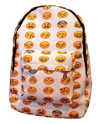 Remeehi Unisex Emoji Printed Canvas School Bag Smiling Backpack Travel Bag