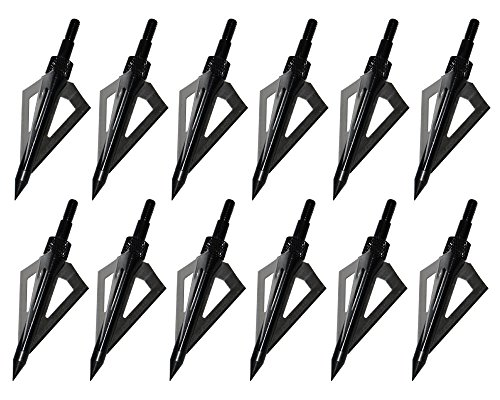 12PK-Black-3-Blades-Archery-Broadheads-100-Grain-Screw-In-Arrow-Heads-Arrow-Tips