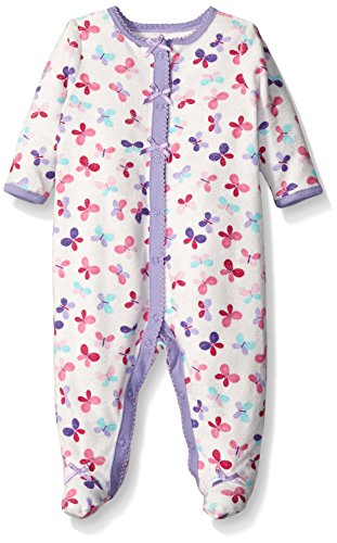The Children's Place Baby Butterfly Terry Cloth Sleep N' Play, Pale Lavender, 3-6 Months