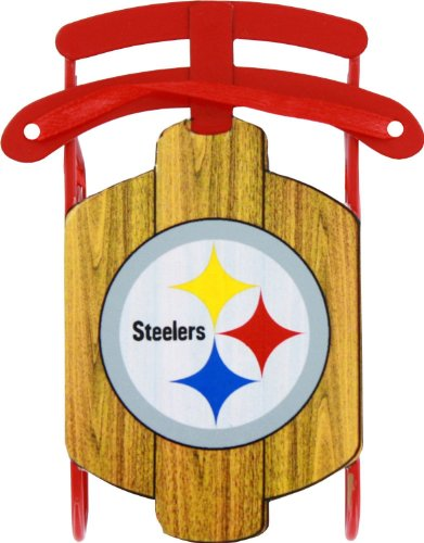 Pittsburgh Steelers Official NFL 3.5 inch Metal Sled Christmas Ornament at Steeler Mania