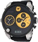 Diesel Gents Watch Big Dial Yellow Details Black Leather Strap - DZ7234