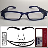 Reading Glasses Lighted ~ See Clearly Now Kit(TM) - 8 Batteries, Carl Zeiss Lens Cloth, Credit Card Magnifier ~ Corrective LED Readers with Lights Provide Hands Free Illumination ~ 2.5x BLUE