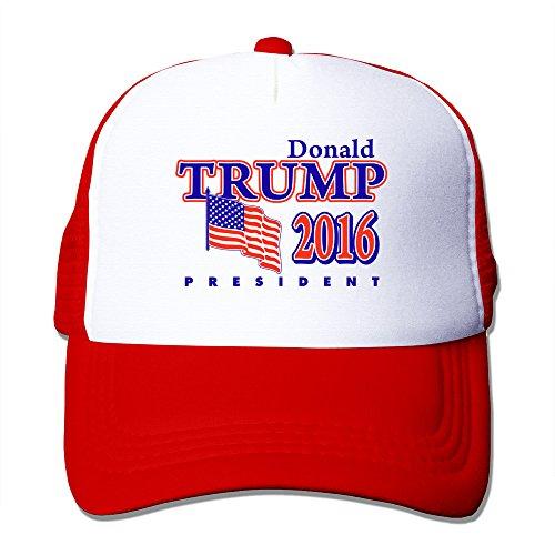 KY メンズ 帽子 ウトドア ソフト 英字プリント ドナルド・トランプ 国旗プリント レッド