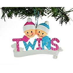 PERSONALIZED CHRISTMAS ORNAMENT TWINS BOY AND A GIRL BLUE PINK