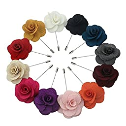 Aisila Lapel Pin Rose Handmade Boutonniere Pin for Suit (Pack of 12)