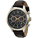 Nautica Men's A16686G NCT 16 Leather Analog Display Quartz Brown Watch