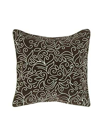 Surya Floral Inspired Pillow, Espresso