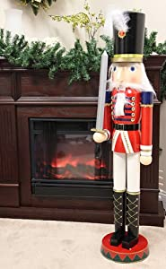 Sterling 4 foot giant wooden soldier christmas for 4 foot nutcracker decoration
