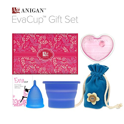 Anigan EvaCup Menstrual Cup Gift Set, Includes: EvaCup, Sterilizing Cup and more, Aqua (Puberty Starter Kit compare prices)