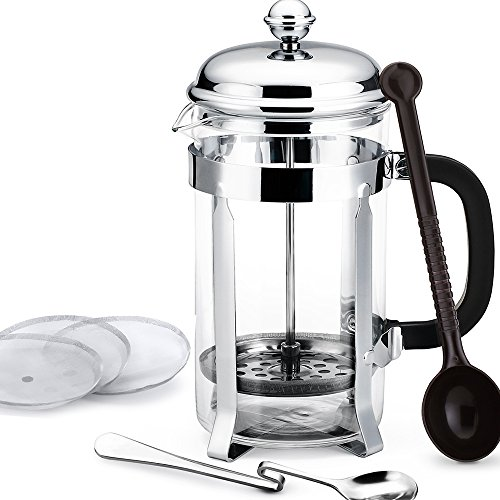 Homitt 34oz French Press Coffee Maker & Tea Maker (8-Cups) with 3 Extra Replacement Screen Mesh,1 Stainless Steel Mixing Spoon, 1 Measuring Spoon.