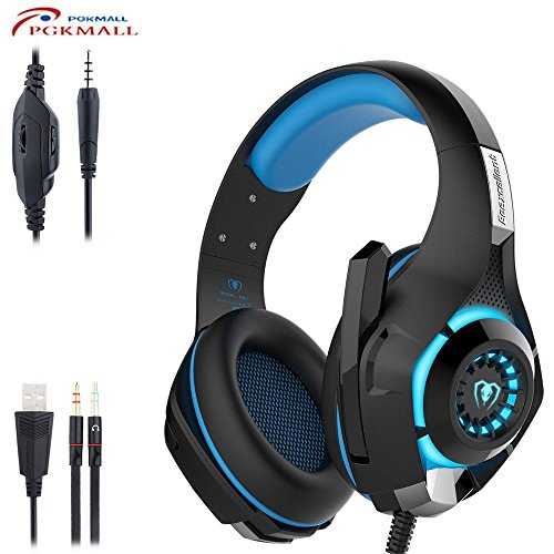 2016 Newest headset 3.5mm Gaming Headset LED Light Over-Ear Gaming with Volume Control Microphone for PS4 Laptop Tablet Mobile Phones