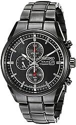 Seiko Men's SSC393 Titanium Solar Black Chronograph Watch
