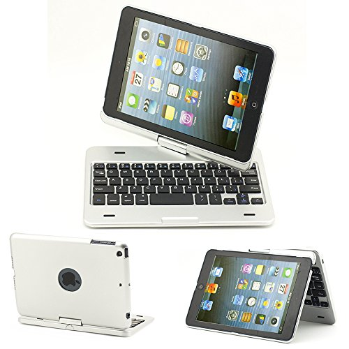 Supernight® 360 Degree Rotating Rotatable Bluetooth Wireless Keyboard Clamshell Case Cover Protecter Tablet Stand For Apple Ipad Mini Ipad Mini2 -Multi-Adjustable Angles - Silver Color
