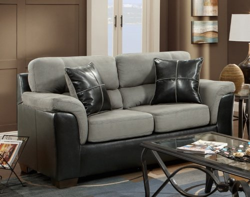 Roundhill Furniture Laredo 2-Toned Sofa and Loveseat Living Room Set, Black and Grey