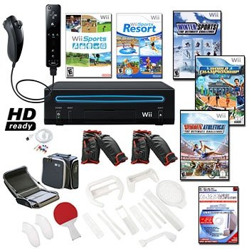 Nintendo Wii Black Holiday Sports Bundle with 5 Games and More