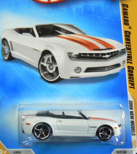 2008 Hot Wheels New Models White Camaro Convertible Concept w/ OH5SPs #37/196 (37of 40) 1:64 Scale