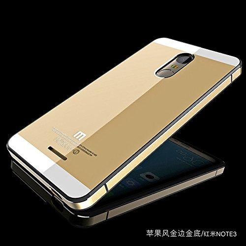 CLASSY Xiaomi Redmi Note 3 Case Luxury Aluminum Frame & Tempered Glass Back Cover for Redmi Note3- Gold