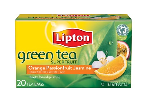 Lipton Green Tea, Orange Passionfruit & Jasmine, 20Count Boxes (Pack of 6)