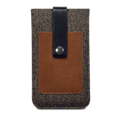Terrapin iPhone 6S Tweed Sleeve Tasche mit Kartenslot für iPhone 6 / 6S Hülle Braun (Lasche mit Rückzugfunktion)