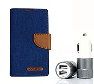 Aart Fancy Wallet Dairy Jeans Flip Case Cover for OnePlusOnePlus2 (Blue) + Dual USB Port Car Charger with Smartest & Fastest Technology by Aart Store.