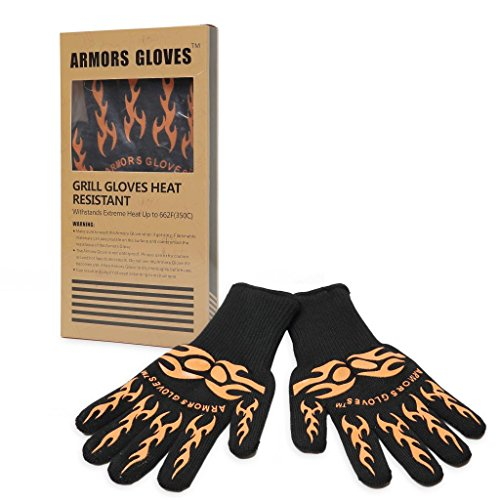 Armors Gloves (Set Of 2) - Black Stain Oven Gloves Extra-Long Length Provides Superior Coverage Of The Wrist And Lower Arm - Heat Resistant Durability For Temperatures Up To 662F (2 Gloves Included)