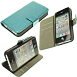 Topideal Crazy Horse Grain Leather Wallet Flip Case Cover with Credit Card Slots & Holder for Apple iphone4 4S(Color: Turquoise)