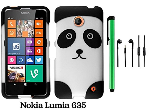 Nokia Lumia 635 (Us Carrier: T-Mobile, Metropcs, And At&T) Premium Pretty Design Protector Cover Case + 3.5Mm Stereo Earphones + 1 Of New Assorted Color Metal Stylus Touch Screen Pen (Black Silver Panda Bear)