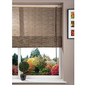 Roman Shade Window Blind - Cord - 100% Jute- Papyrus Black - 120x160cm