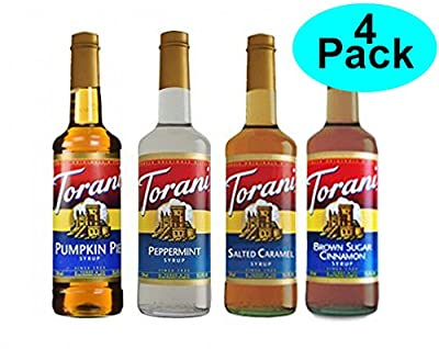 Torani Fall Winter Syrup 4 Pack, Pumpkin Pie, Peppermint, Salted Caramel & Brown Sugar Cimmanon from R. Torre