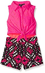 Limited Too Big Girls\' Aztec Lace Sleeveless Blouse and Aztec Printed Short Romper, Neon Hot Pink, 3T