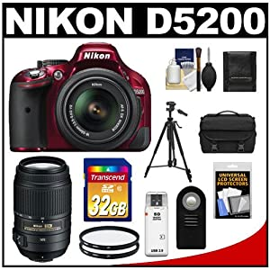 Nikon D5200 Digital SLR Camera & 18-55mm G VR DX AF-S Zoom Lens (Red) with 55-300mm VR Lens + 32GB Card + Case + Filters + Remote + Tripod + Accessory Kit
