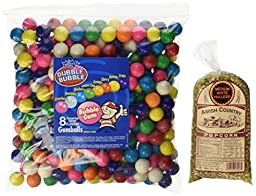 Dubble Bubble Assorted 24mm Gumballs 1 Inch, 5 Pounds Approximately 275 Gum Balls. Includes a Free 1 Pound Bag of Amish Country Popcorn