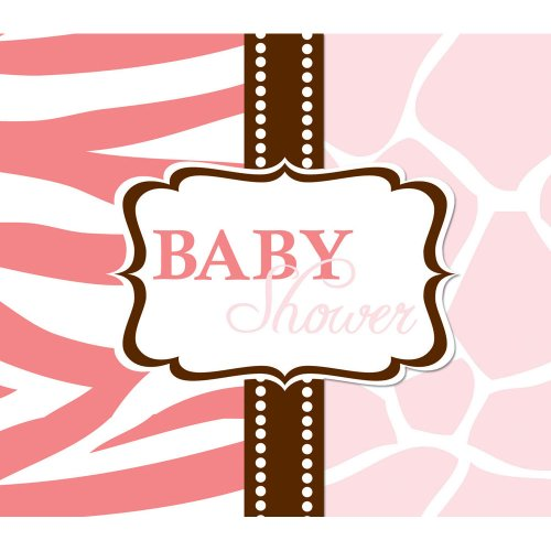 Creative Converting Baby Shower Wild Safari Pink 8 Count Enhanced Invitations