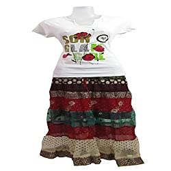 revin white with multicolour tshirt and crush skirt