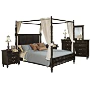 Marseille 6 Piece Canopy E King Bed, 2 Nightstand, Dresser & Mirror, Chest with Drapes in Distressed Black