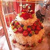 誕生日プレゼント ディズニー フラワーギフト ケーキ プリザーブドフラワー フルーツいっぱい フラワーケーキ 3段 ケース付き