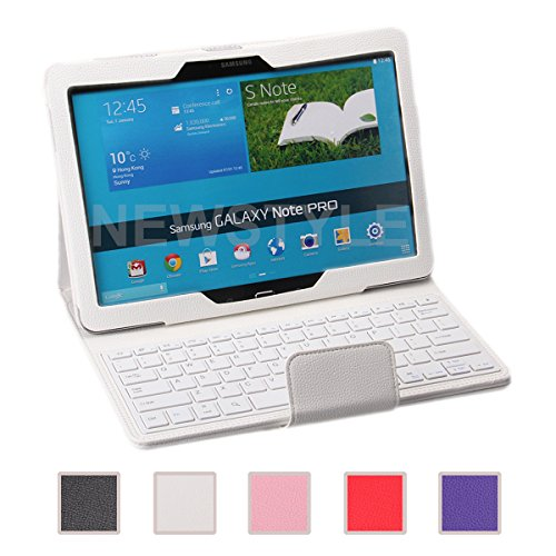 Newstyle Samsung Galaxy Note Pro & Tab Pro 12.2 Case - Wireless Bluetooth Keyboard Cover For Galaxy Notepro & Tabpro 12.2 Inch Android Tablet - White Color