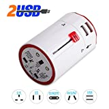 Travel Adapter UPPEL US UK EU AU 110V to 240V Rotating International Plug Wall Charger with Dual USB Charging Ports for Your Trip White