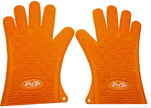 Find Discount FanGo Gear Silicone Heat Resistant BBQ Grill Gloves Pair - Use for Cooking, Grilling, ...