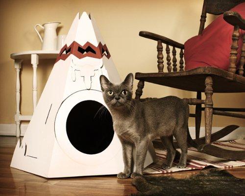 【即納】カナダ生まれのおしゃれな猫用ダンボール製インディアン調キャットハウス【Loyal Luxe/ロイヤルラックス】