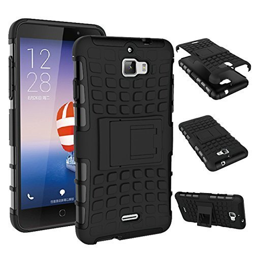 PES Flip Kick Stand Hard Dual Armor Hybrid Bumper Back Case Cover For Micromax Canvas Nitro A311 - Rugged Black