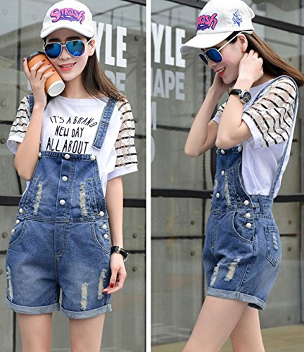 Chouyatou Women's Retro Destroyed Ripped Hole Button Front Denim Shortalls 6
