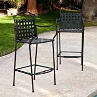 Woodard Capri Wrought Iron Bar Height Bistro Chair - Set of 2 by Woodard-CM LLC