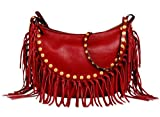 Valentino C-Rockee Studded Fringe Hobo Bag in Red Leather Handbag Purse GWB00716 L43